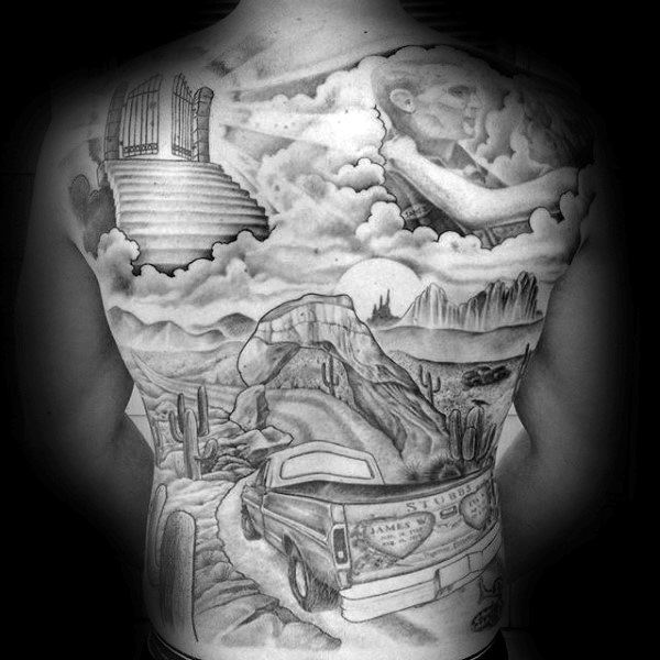 Truck With Gates Of Heaven Mens Full Back Tattoos