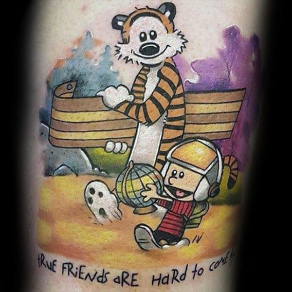 True Friends Are Hard To Come By Calvin And Hobbes Male Tattoo