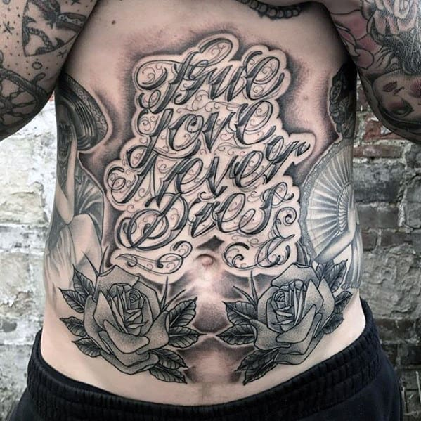 True Love Never Dies Mens Chest Quote Tattoos