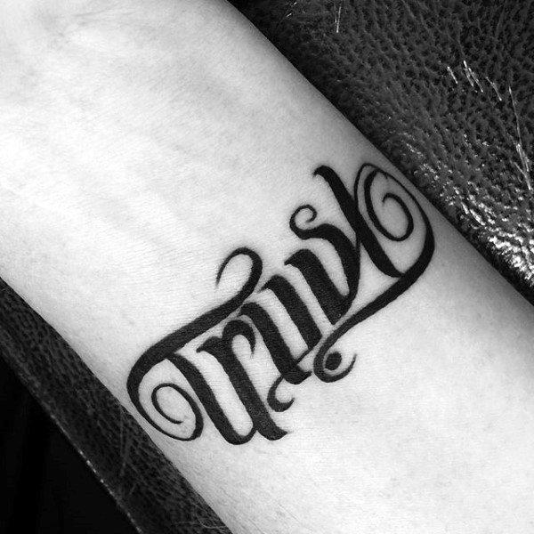 Trust Faith Ambigram Small Guys Tattoo Designs