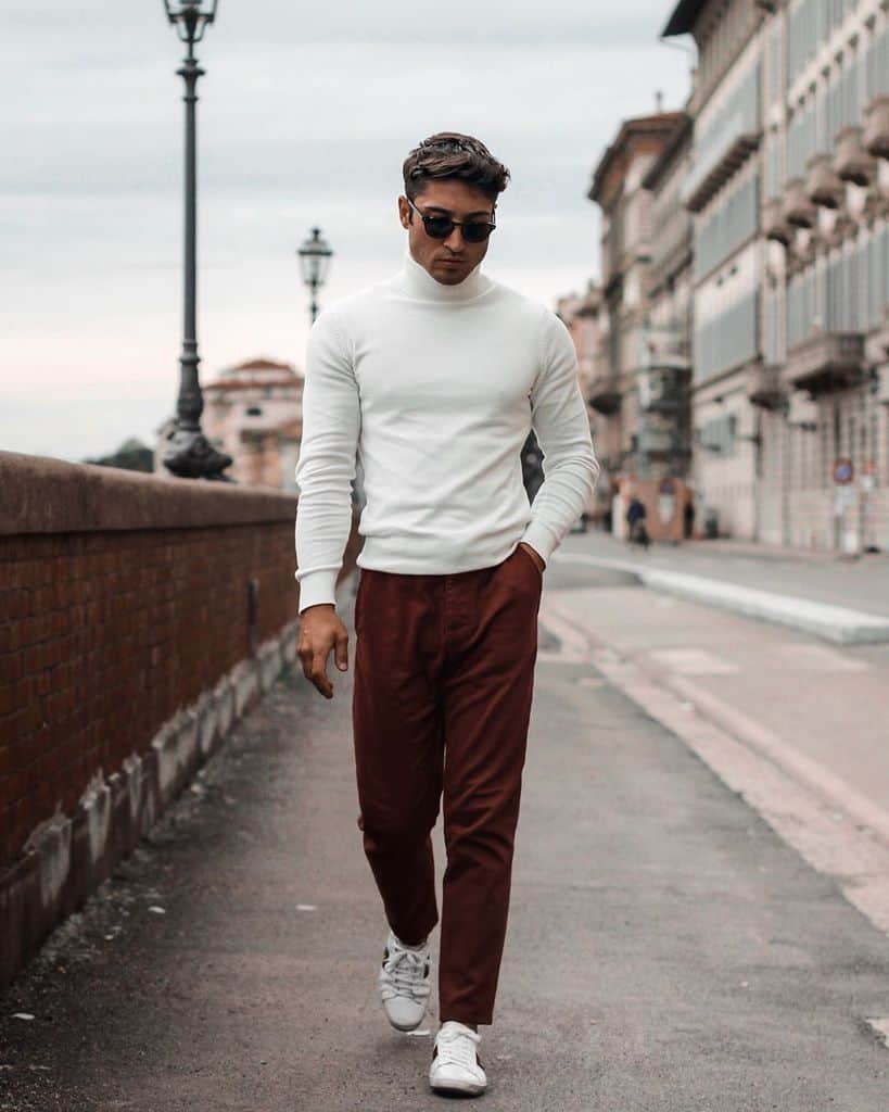 Turtle Neck White Sweater Red Pants Mens Wear