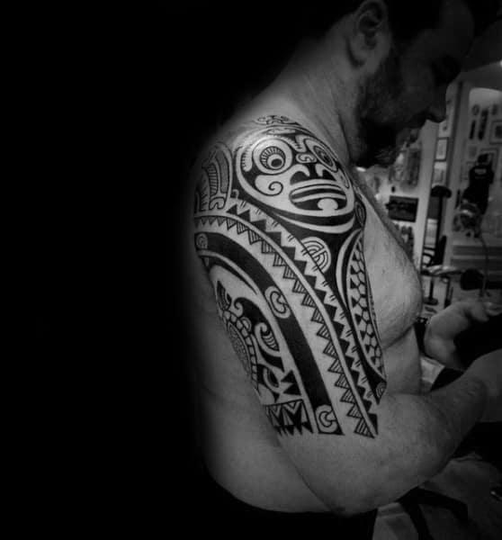 Turtle With Sun Male Tribal Half Sleeve Tattoo Hawaiian Design