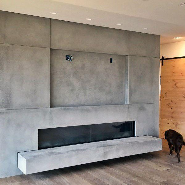 Tv Above Concrete Fireplace Design Ideas