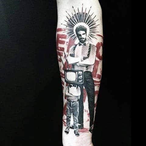 Tv Head Mens Amazing Trash Polka Forearm Tattoo Ideas