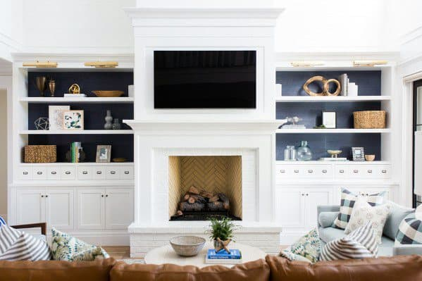 Tv Wall Traditional Home Living Room Ideas Painted White Bookcases And Fireplace