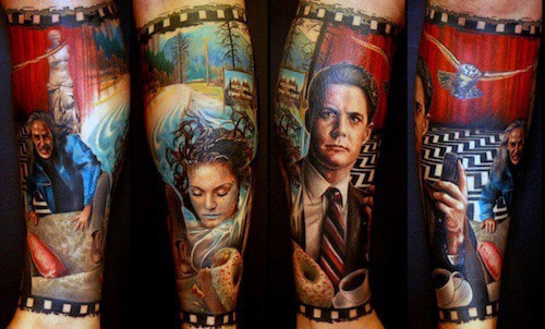 Twin Peaks Tv Show Themed Mens Leg Sleeve Tattoo