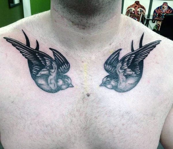Twin Sparrows Tattoo On Both Sides Of Chest Males