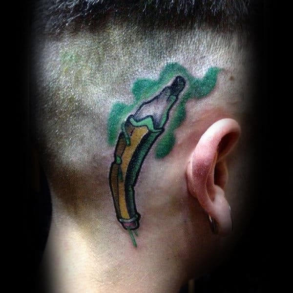 Twisted Pencil New School Tattoo Male Head