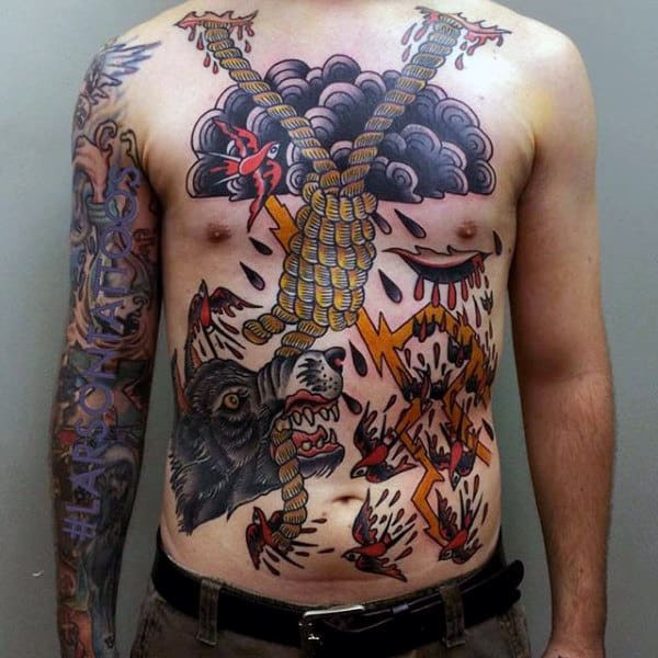 Twisted Rope And Violence With Blood Tattoo Guys Torso