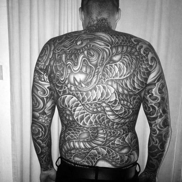 Twisted Serpents Tattoo Black And Grey Shaded Tattoo Mens Full Back