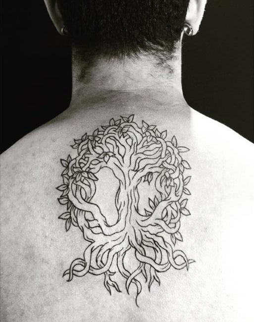 Twisted Tree Mens Upper Back Tattoo