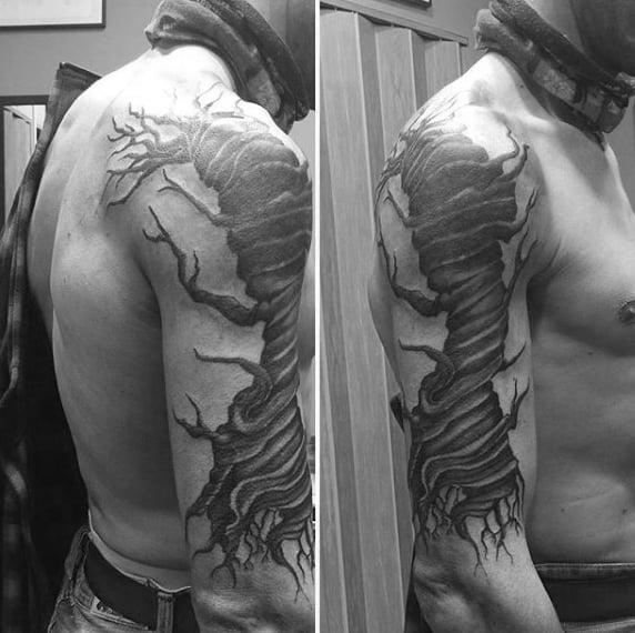 Twisted Tree Sleeve Tattoo On Man