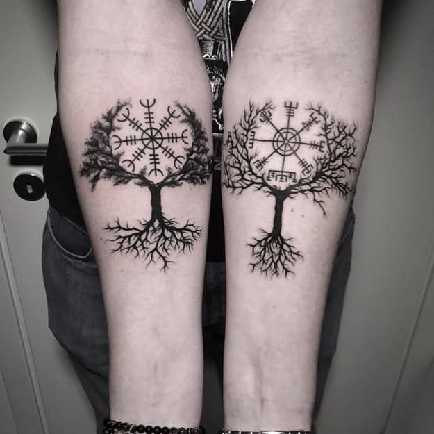 two Yggdrasil tattoo combo middle circle within branch