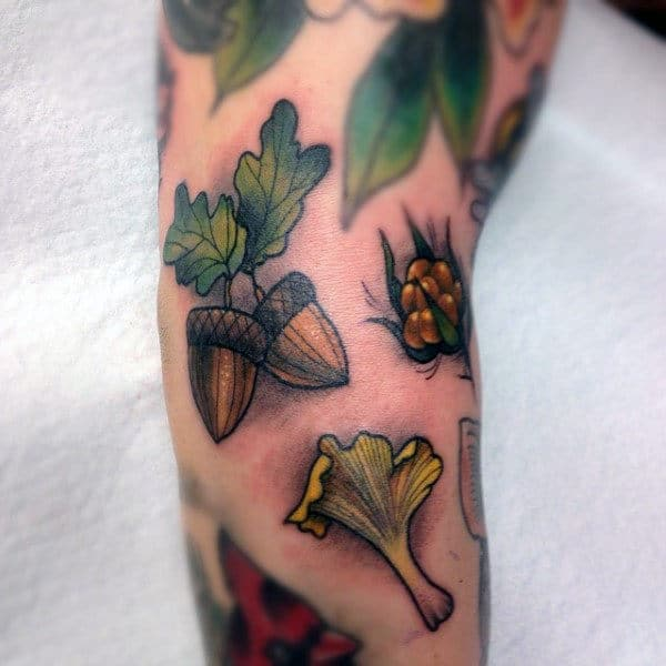 Two Acorns Mens Small Arm Tattoos