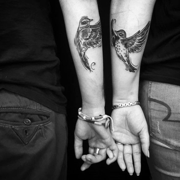 Two Birds Flying On Outer Forearm Creative Couple Tattoos