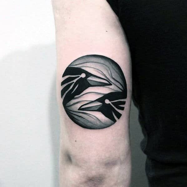 Two Black Corws In Circle Awesome Arm Tattoo Ideas For Men