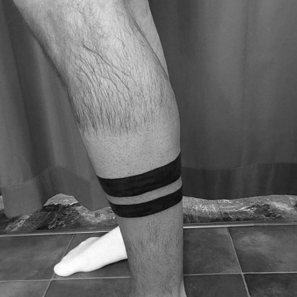 Two Black Ink Lines Guys Leg Band Tattoo Ideas
