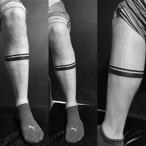 Two Black Ink Lines Mens Simple Small Leg Band Tattoo