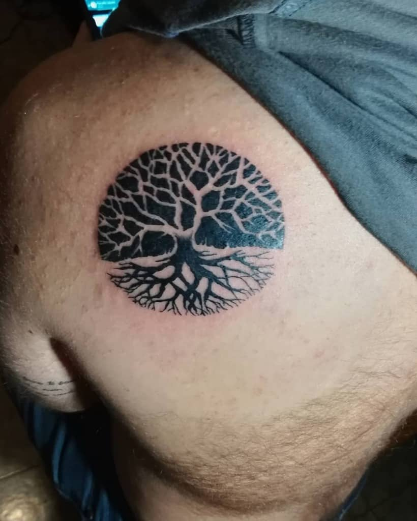 two circle darkened portion Yggdrasil piece creativity