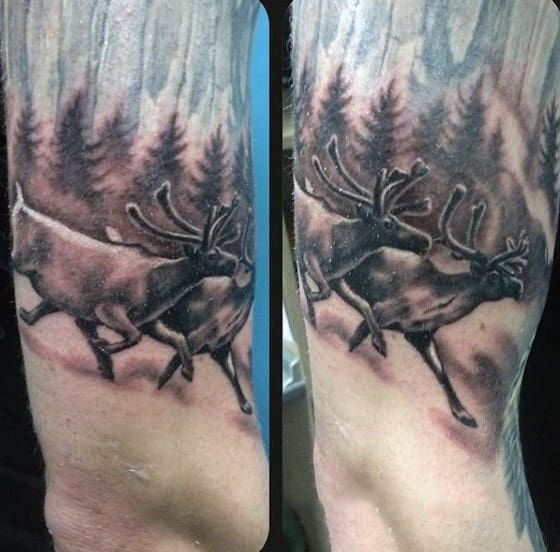Two Deer Running In Forest Mens Animal Tattoos
