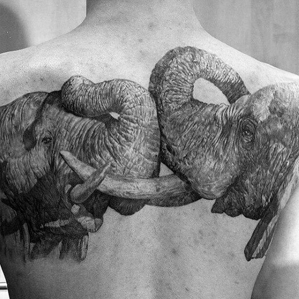 Two Elephants Male Upper Back Realistic Tattoo Ideas
