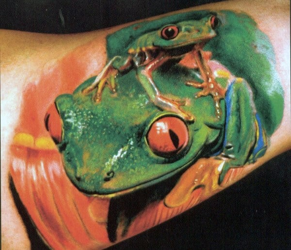 Two Frogs Mens 3d Realistic Inner Arm Bicep Tattoos