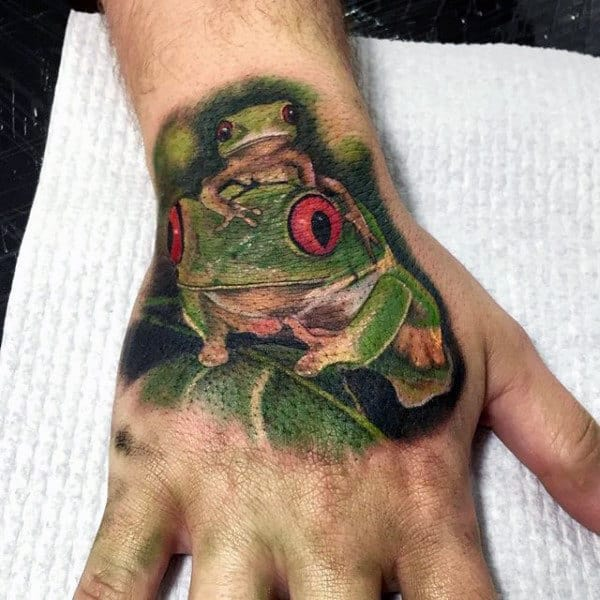 Two Frogs Mens Realistic Hand Tattoo