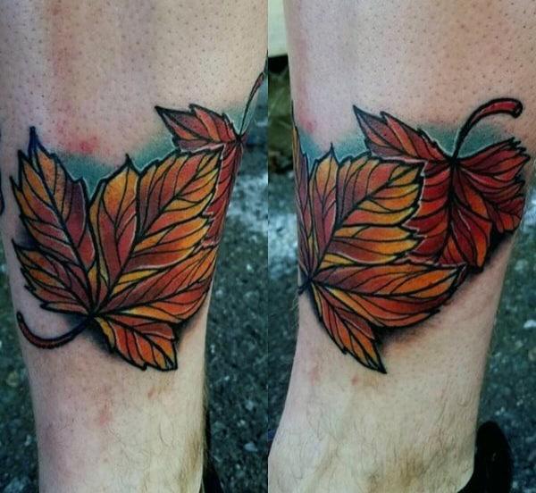 Two Leaves Mens Fall Lower Leg Tattoos