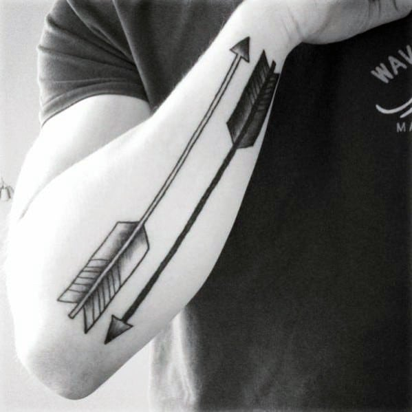 Two Old School Arrows Guys Outer Forearm Simple Tattoos
