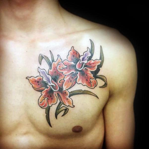 Two Orchid Flowers Tattoo On Mans Upper Chest