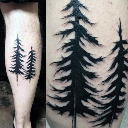 Two Pine Trees Male Leg Calf Simple Tattoo Designs