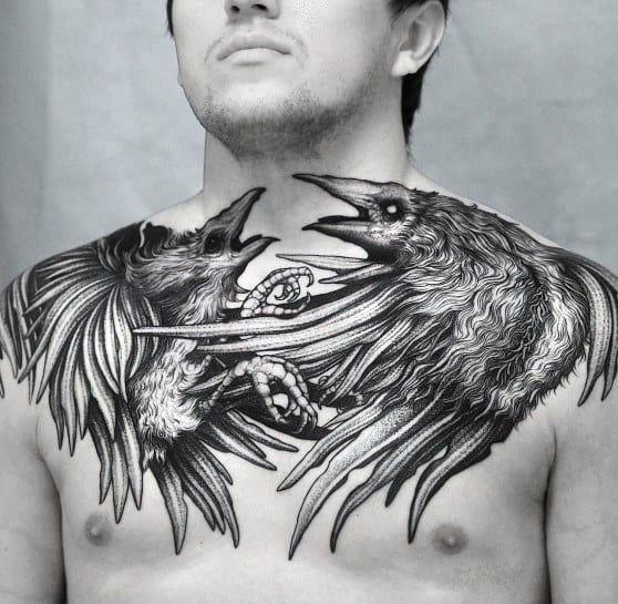Two Raven Birds Mens Big Tattoo Ideas