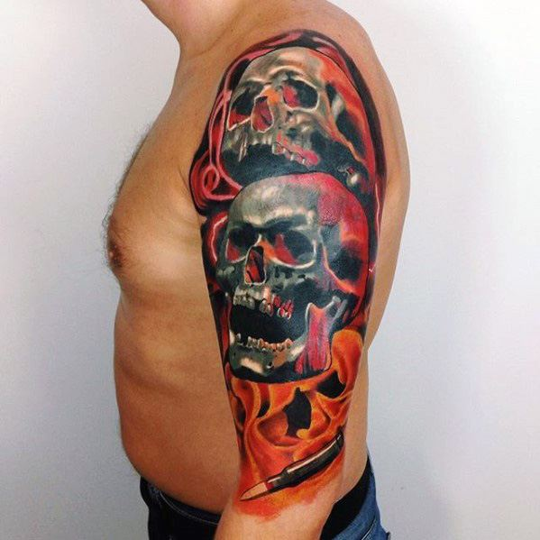 Two Skulls With Flames Guys Unique Half Sleeve Tattoo Designs