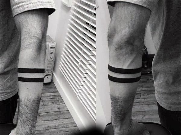 Two Solid Black Lines Armband Tattoo On Man