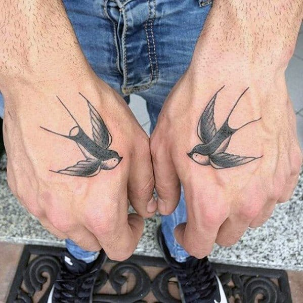 Two Sparrow Birds Guys Small Tattoo On Hand