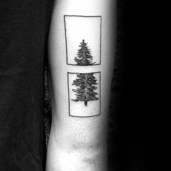 Two Squares Simple Pine Tree Geometric Tattoo Ideas For Men On Triceps