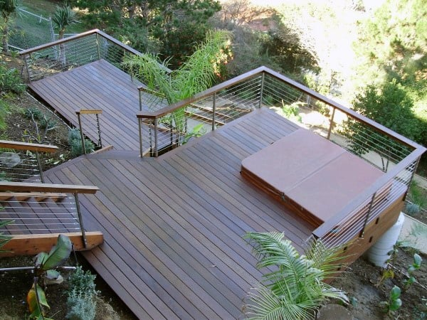 Two Story Backyard Deck Ideas With Bult In Hot Tub Area