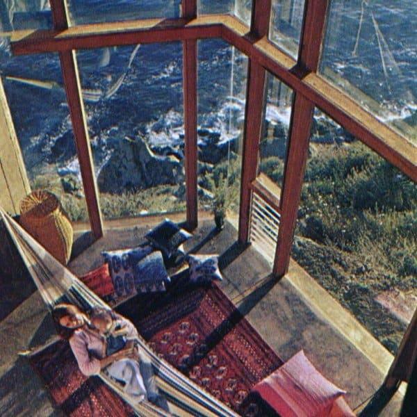 Two Story Glass Windows Indoor Hammock Ideas