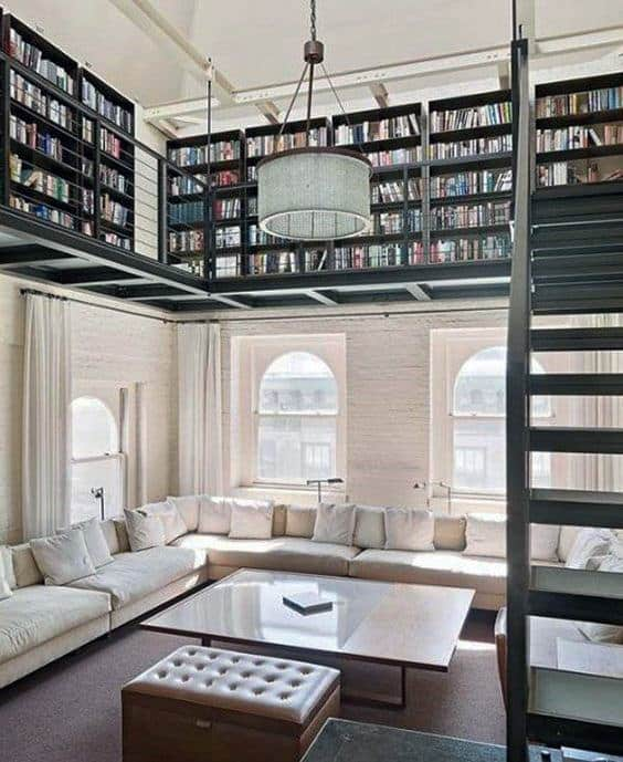 Two Story Home Library Above Living Room Design