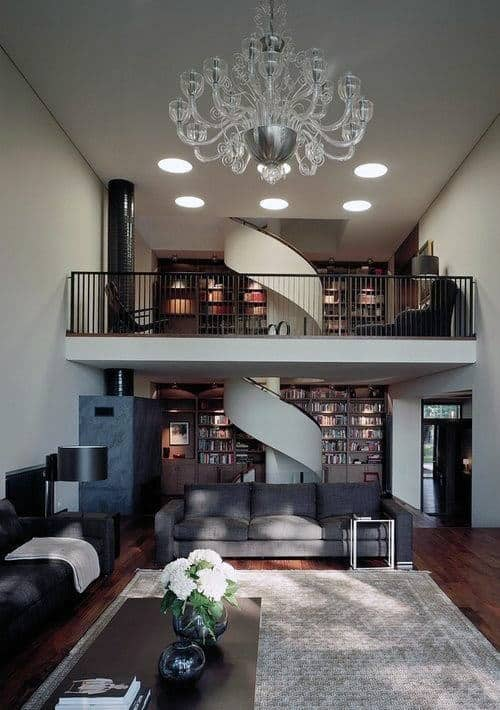 Two Story Home Library Design Ideas With Winding Staircase