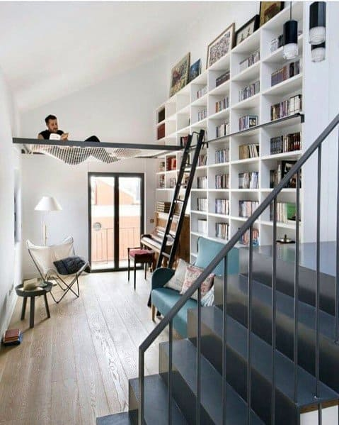 Two Story Loft Ideas For Home Floor To Ceiling Bookshelves
