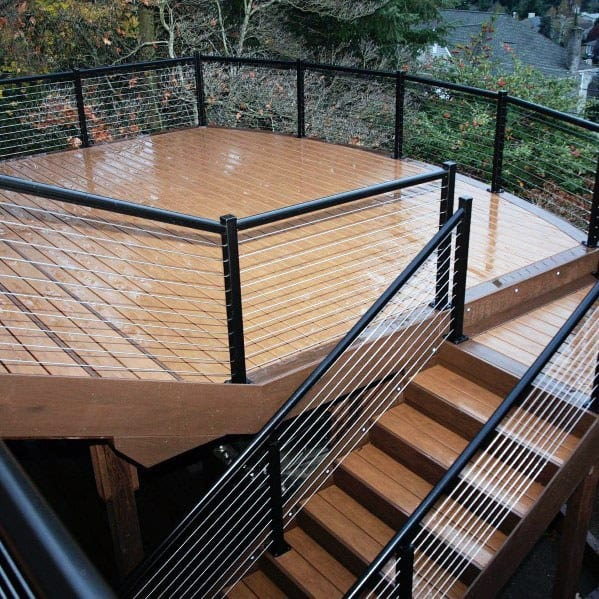 Two Story Metal Deck Railing Design Ideas With Staircase