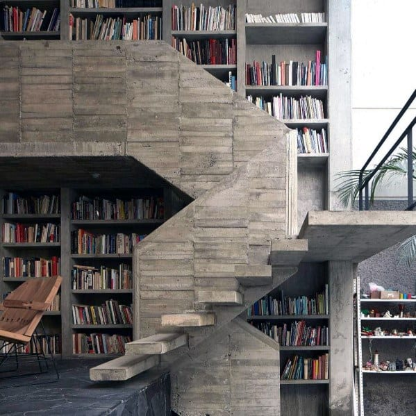Two Story Staircase Home Design Ideas Floor To Ceiling Bookshelves