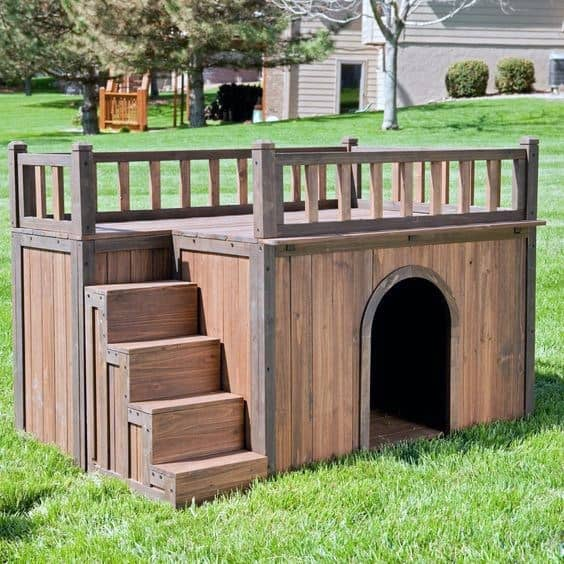 Two Story With Stairs Dog House Ideas
