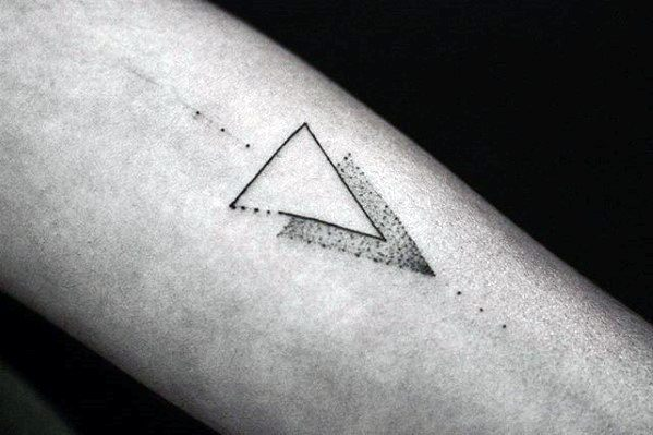 Two Triangles Dotwork Guys Simple Forearm Tattoos