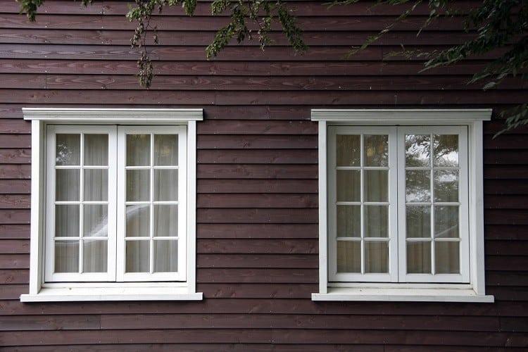 Two White Exterior Window Trim Crown Molding