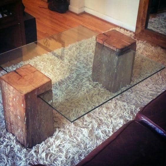 Two Wood Blocks With Glass Cheap Man Cave Coffee Table Ideas