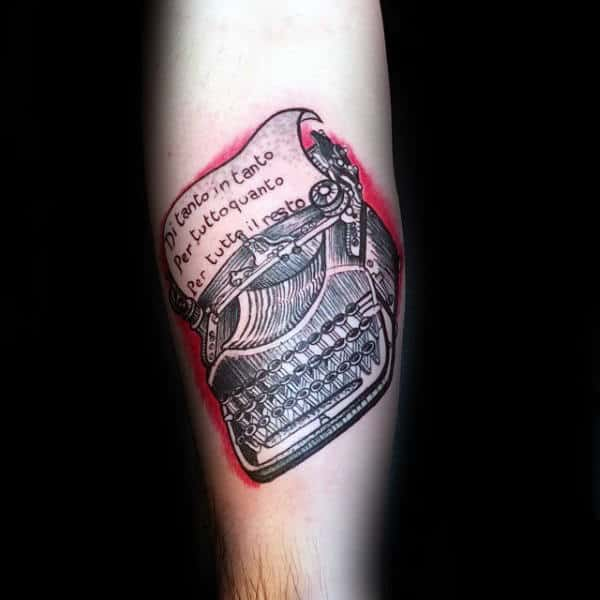 Typewriter With Red Ink Background Guys Inner Forearm Tattoos
