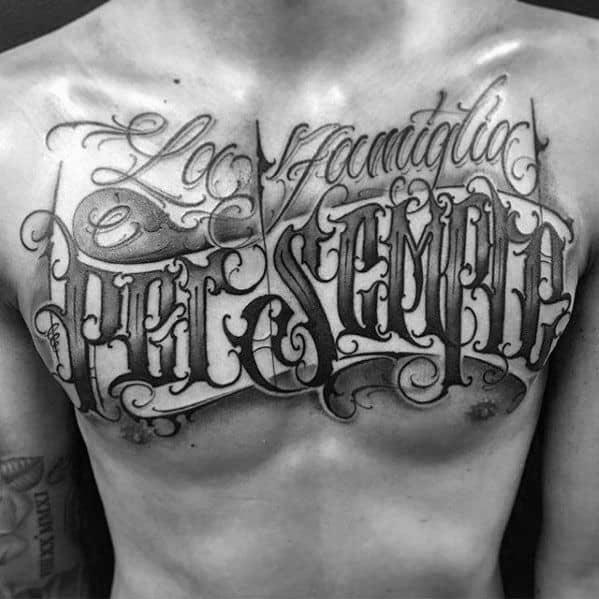 Typography Male Tattoo Designs Upp Erchest