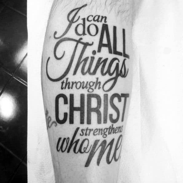 Typography Philippians 4 13 Mens Leg Tattoos